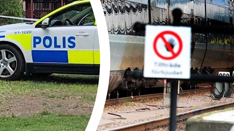 Polisbil och tåg.