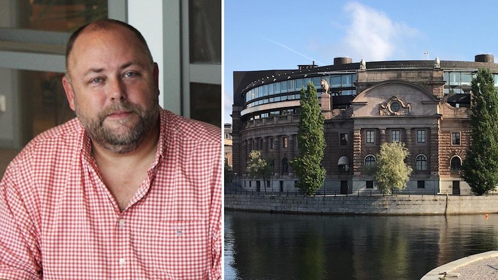 Jan R Andersson till vänster, till höger en bild på riksdagshuset.