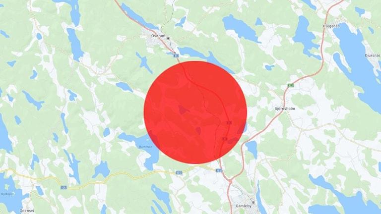 Karta över delar av Västerviks kommun.