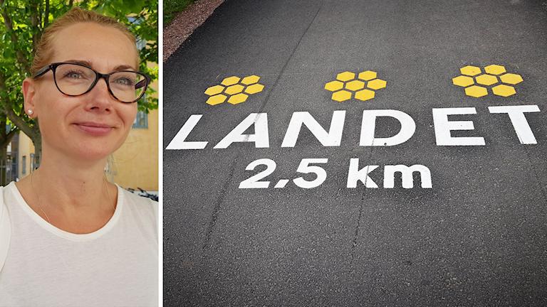 """Edyta Krawus och texten """"Landet 2,5 kilometer"""" på asfalt."""
