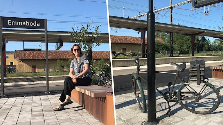 En person sitter på en bänk och en närbild på en cykel-skulptur.