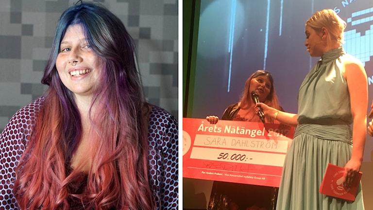 Sara Dahlström tar emot pris som Årets nätängel