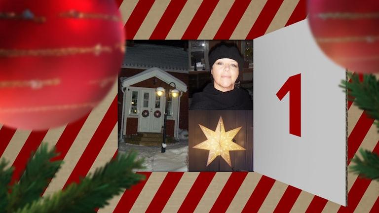 Eréne Öberg, ett hus med snö på och en julstjärna