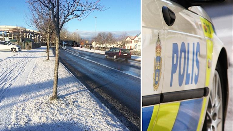 Väg i Nybro och polisbil.