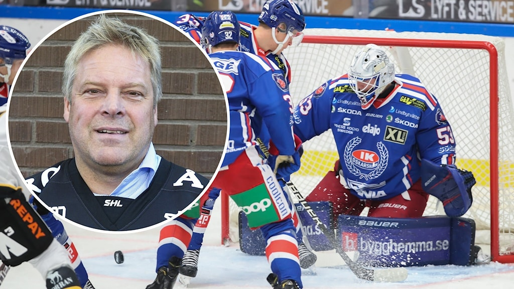 En porträttbild på en person. I bakgrunden syns ishockeyspelare.