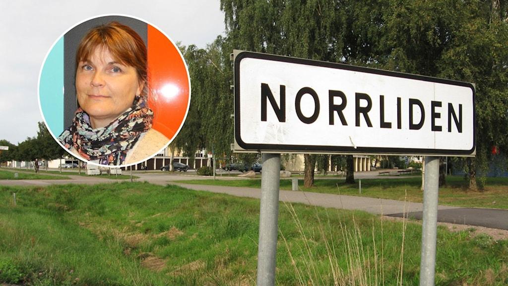 """Bild på en kvinna och en skylt med texten """"NORRLIDEN""""."""