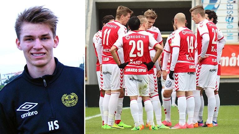 Hampus Strömgren och Kalmar FF-spelare som står i ring.