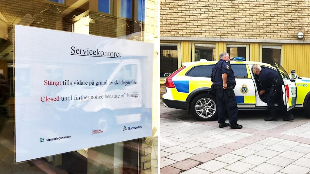 Skylt om att kontor är stängt och bild på polisbil.