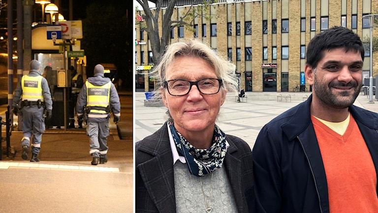 Kollage med en bild på två ordningsvakter och en bild med en man och kvinna.