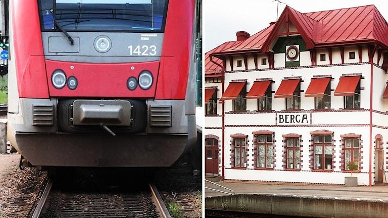 Tåg och stationsbyggnad.