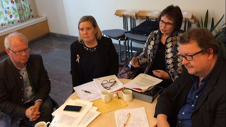Christer Jonsson (C), Malin Sjölander (M), Gudrun Brunegård (Kd) och Pierre Edström (L).
