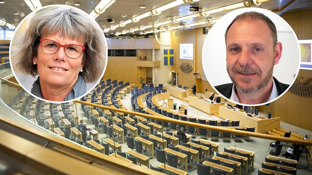 Montage med Sveriges riksdag och två politiker med koppling till Kalmar län.