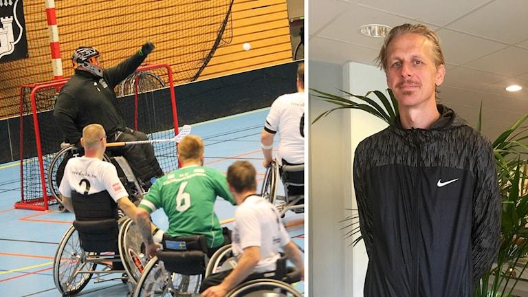 Till vänster rullstolsinnebandymatch, till höger en man i svart träningsjacka.