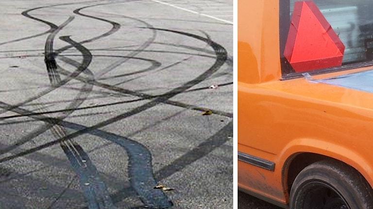 Brända däck och epa-traktor.
