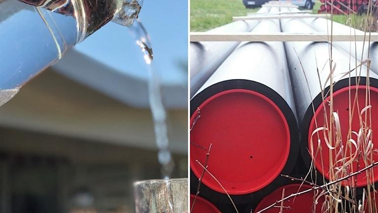Fotomontage med vatten som rinner ur flaska och vattenledningsrör