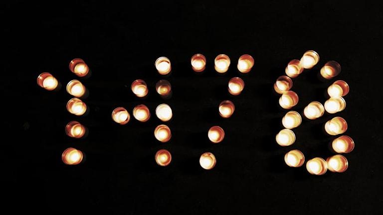 Antalet döda i självmord 2016, siffror skapade av levande ljus.
