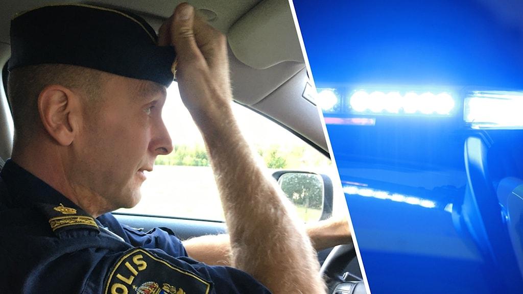 Polis i bil och bild på blåljus.