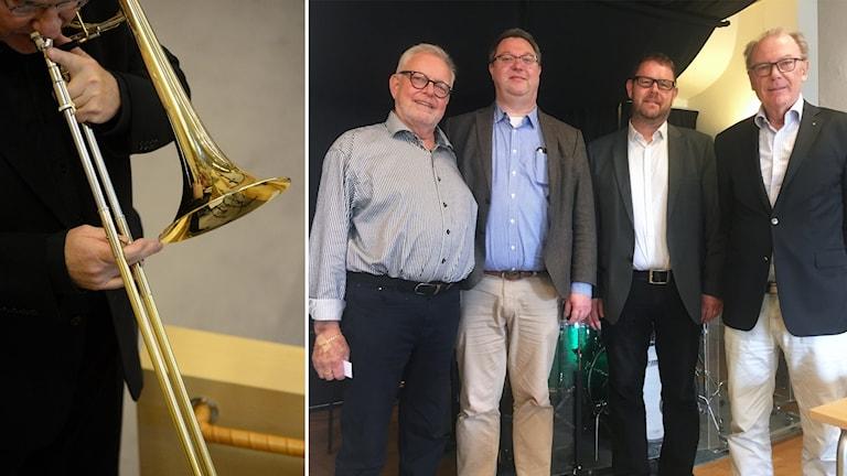 Bild på man med trombon. Bredvid en bild på Lars-Göte Löfdahl, Jan H Börjesson, Lars Hammar och Sten Franzén.