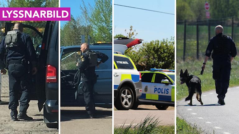 Poliser och polisbilar.