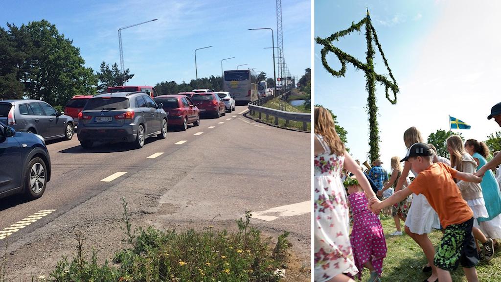 Trafik på Ölandsbron och bild på midsommardans.