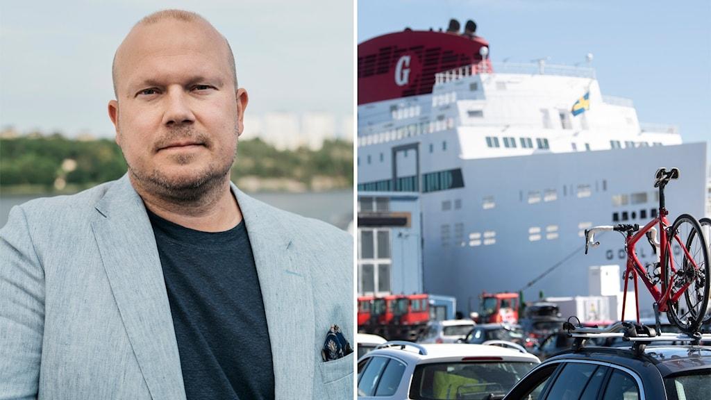 Bilden är tvådelad: Till vänster Destination Gotlands vd Marcus Risberg; till höger bilar som köar för att köra ombord på Gotlandsfärjan.