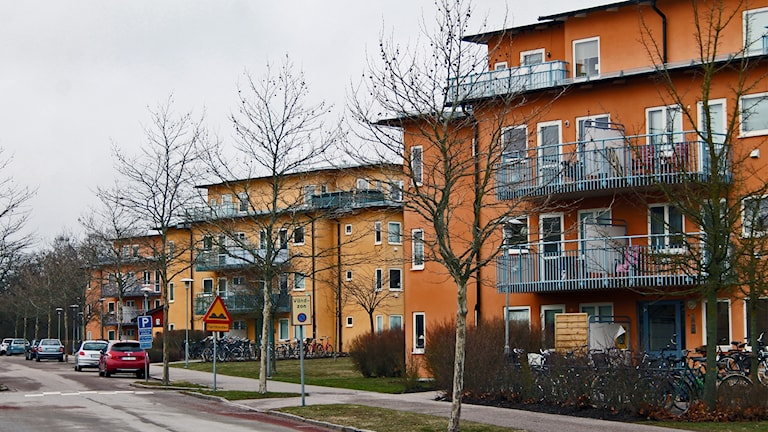Skräddaretorpsvägen i Kalmar. Bild på orangea hus.