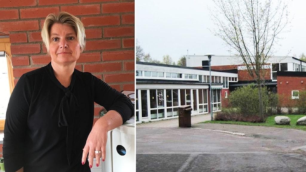 Malin Öhlin och en bild på en skola.