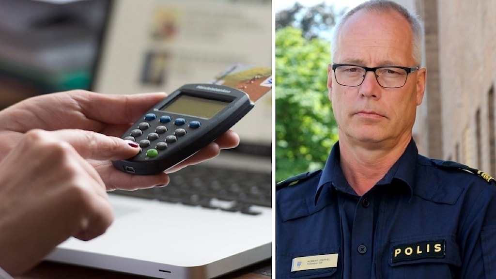 Person med bankkort samt en man i poliskläder.