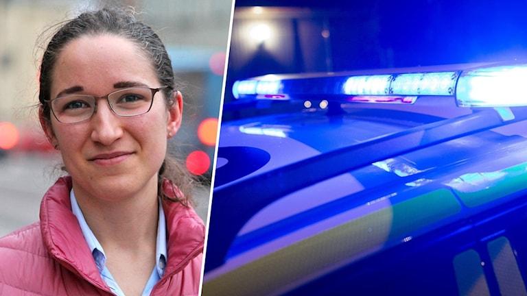 Bildsplitt med en kvinna och en polisbil.