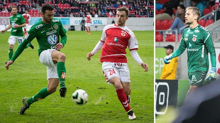 Filip Sachpekidis och Lucas Hägg Johansson på fotbollsplan.