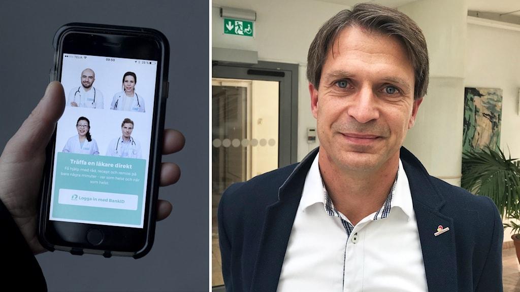 En närbild på en mobiltelefon och en porträttbild på en person.