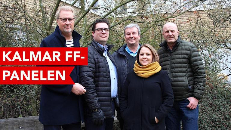 Fyra män och en kvinna som utgör Kalmar FF-panelen.
