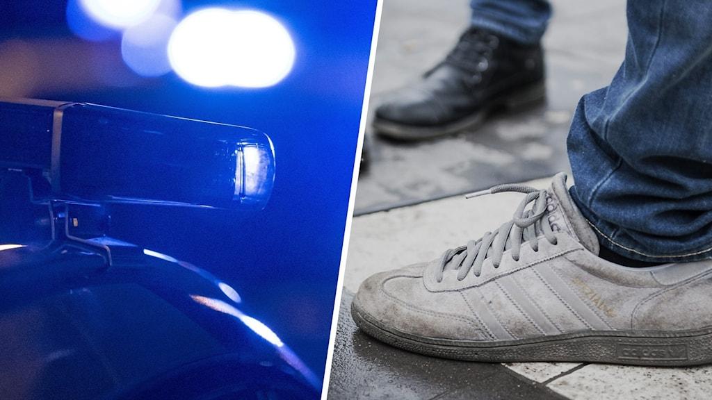 En polisbil och ett par skor.