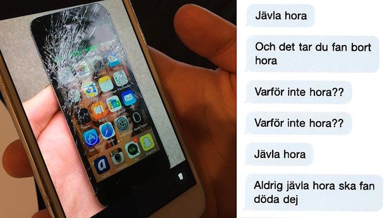 Meddelanden och bild på mobiltelefon med sprucken skärm.