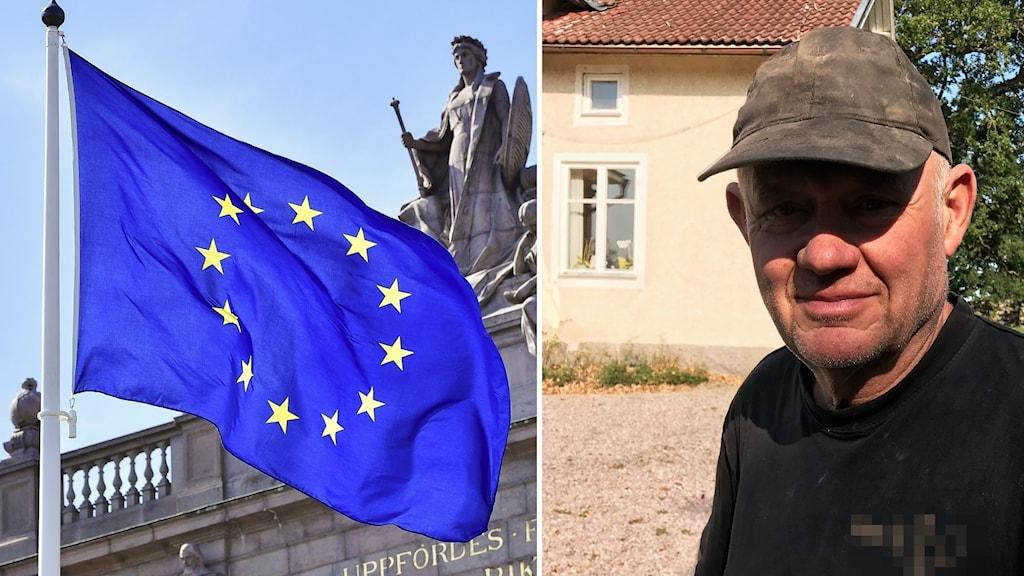 EU-flagga och Ingmar Olovsson.