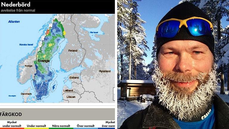 Bild på SMHI:s webbtjänst Vattenbalans till vänster och hydrologen Niclas Hjerdt till höger
