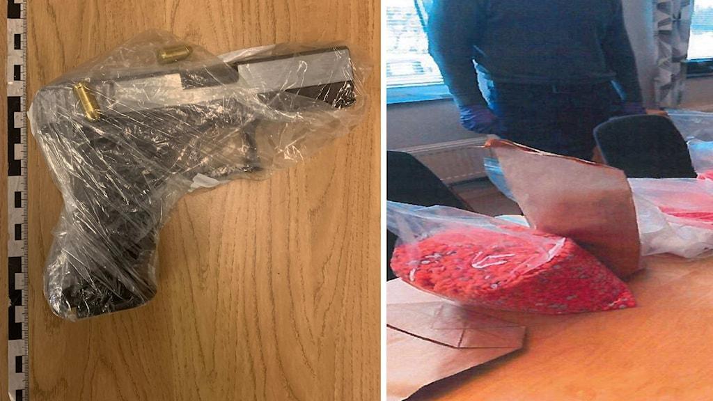 Bild på pistol och misstänkt narkotika i en påse.