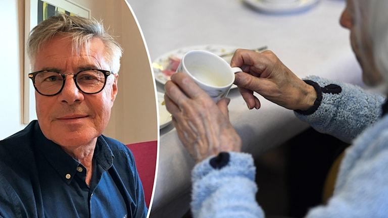 En bildsplitt med en man med glasögon och en äldre kvinna som håller en kopp.