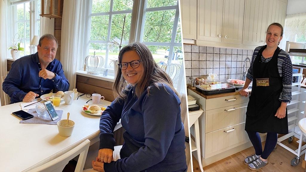 Två personer äter frukost vid ett bord. En person står i ett kök.