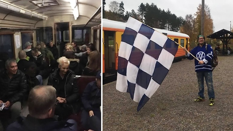 Tågvagn och hockeysupporter med flagga.