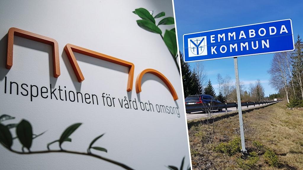 Montage med en skylt där det står IVO och en annan där det står Emmaboda kommun.