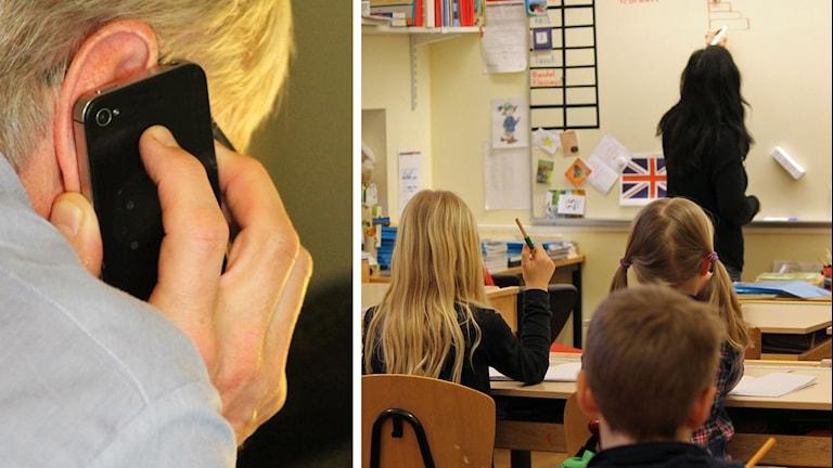 Man med telefon och lärare i klassrum.