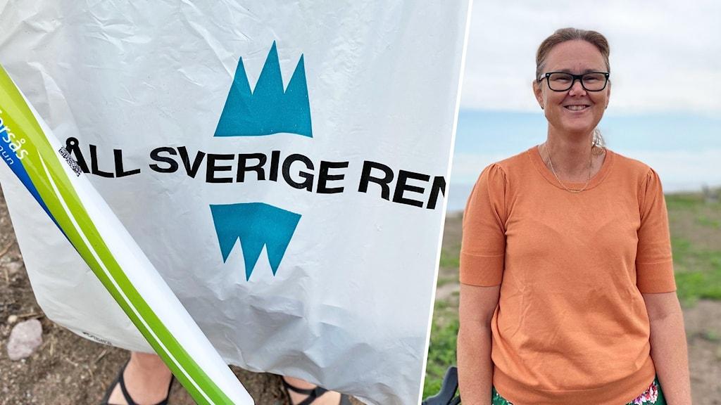 """En person och en påse med texten """"Håll Sverige rent""""."""