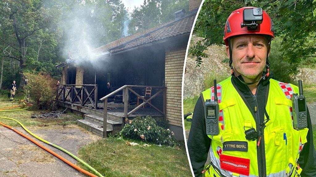 Bild på brinnande hus och en brandman.