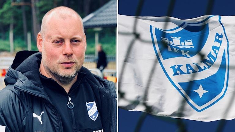 Montage med Jonas Walfridsson och IFK Kalmar-flagga