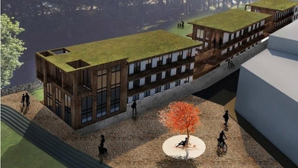 Visionsbild över området med Rävspelet i bakgrunden. Bild: Engstrand och Speek.
