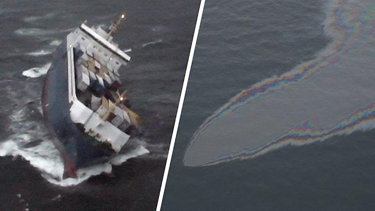 Fartyg och olja på vatten.