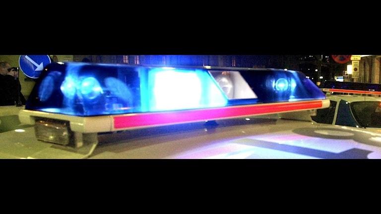 Blåljus på polisbil. Foto:SR Kalmar
