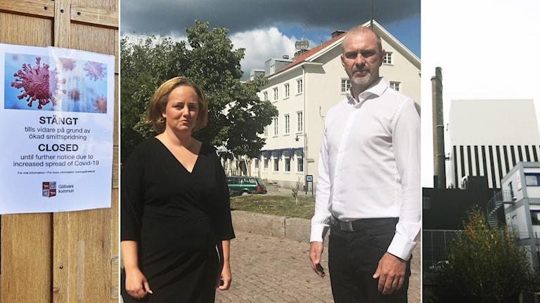 Corona-skylt, Charlotte Axelsson Andersson och Robert Linnsand samt kärnkraftverk.