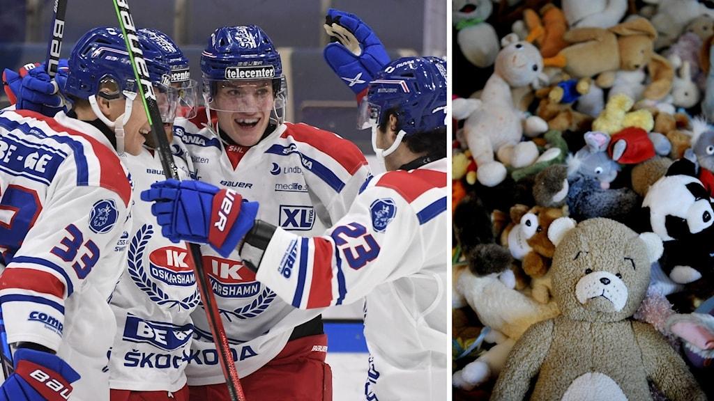 Hockeyspelare och nallebjörnar.